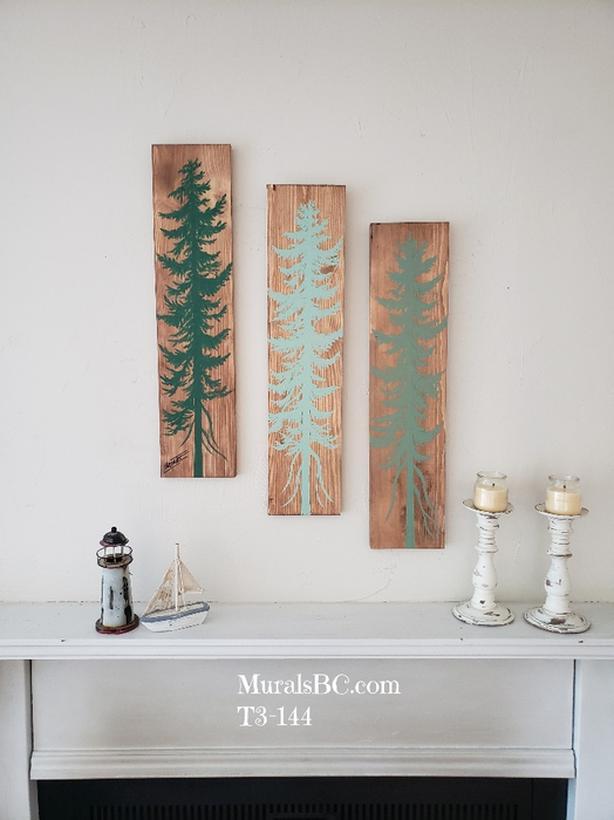 Original painting on wood set of 3