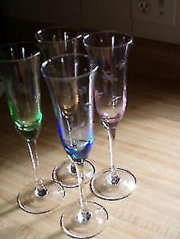 vintage , 12 glasses set ,multi colored MULTI-crystal Cordial wine