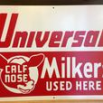 VINTAGE 1950's UNIVERSAL CALF NOSE MILKERS METAL DAIRY FARM SIGN