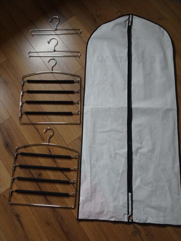Hangers and dress bag