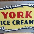 VINTAGE 1950's YORK ICE CREAM (30 X 18 INCH) PAINTED METAL SIGN