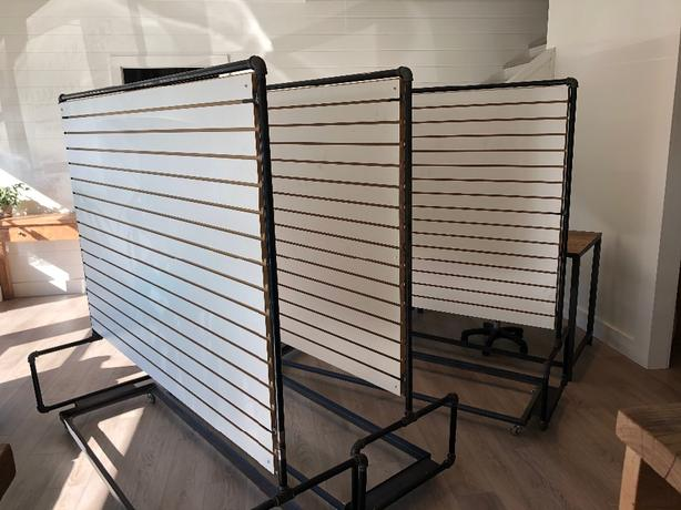 Custom retail slat wall racks.