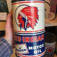 VINTAGE 1940's RED INDIAN AVIATION MOTOR OIL IMPERIAL QUART CAN