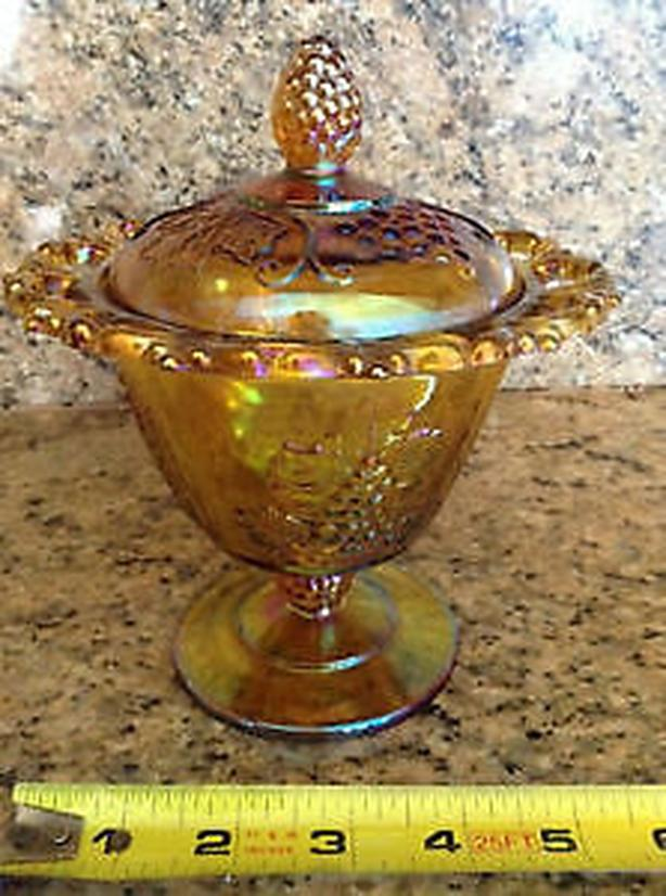 Carnival Glass Covered Candy/ Treat Bowl