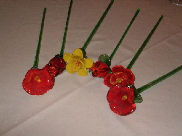 flowers long stems glass art Italian murano style