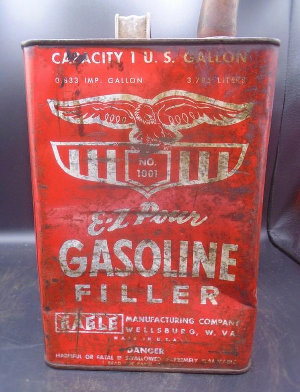 VINTAGE 1960's EAGLE E-Z POUR GASOLINE U.S. GALLON CAN w/ SPOUT