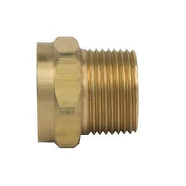 Brass ¾ inch hose adapter (3/4 MIP x ¾ FHT)