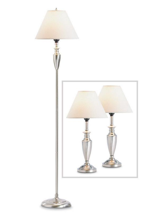 3PC Lamp Set Floor Pole Lamp & 2 Table Lamps Brand New Silvertone