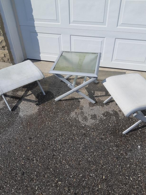 Patio side table and 2 stools