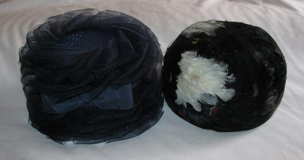 Ladies Vintage Hats Blue Ribbon with Bow & Black with Feathers 2 Styles Mixed