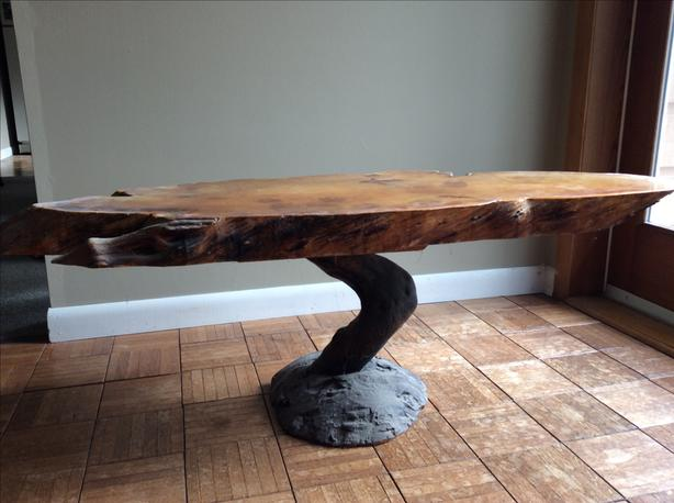 Pacific Yew wood slab table