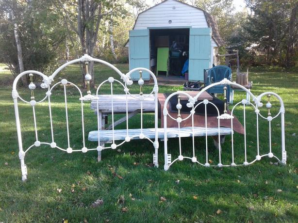 Vintage Cast Iron Headboard and Footboard