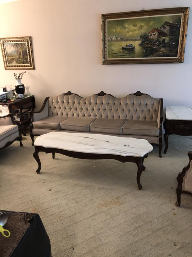 Coffee Table and 2 End Tables with Marble Tops