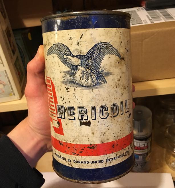 RARE 1940's VINTAGE AMERICOIL MOTOR OIL IMPERIAL QUART CAN