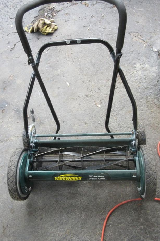 Freshly sharpened 18 inch push reel mower
