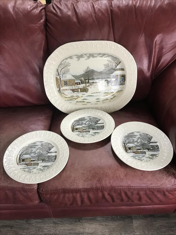 "Christmas Platter & 3 plates by Adams , England ""Winter scenes""- N. Duncan"