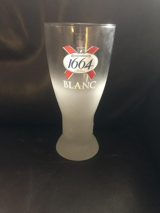 7 x Frosted Kronenbourg Pint Beer Glasses