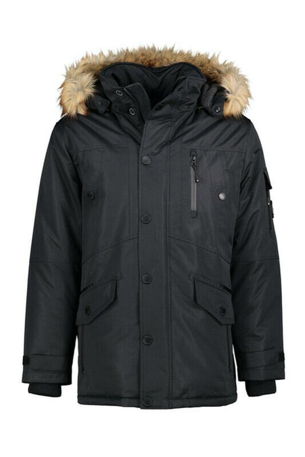 "Mens NOIZE ""JACOB"" Heavyweight Black Parka Size Large"