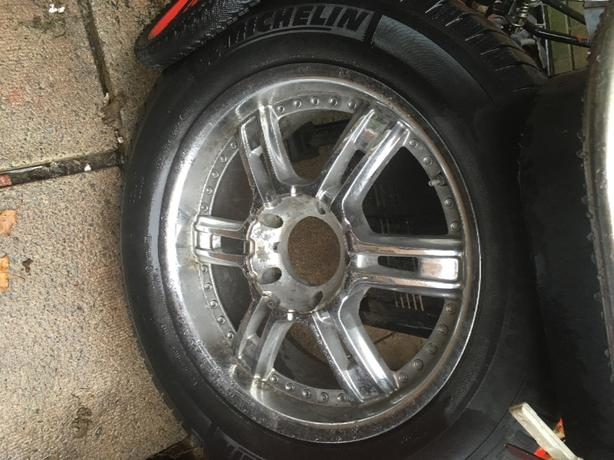 "5bolt 20"" rims tires and adapters"