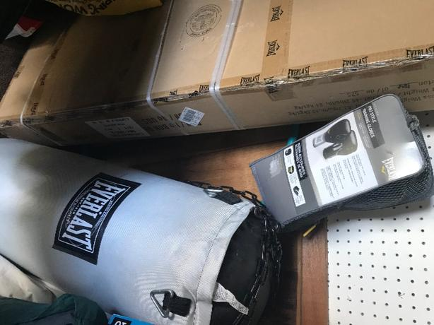 heavy bag with stand and gloves