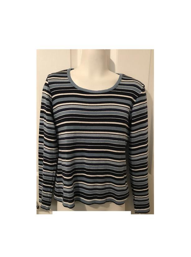 Women's Blue Striped Pullover Sweater