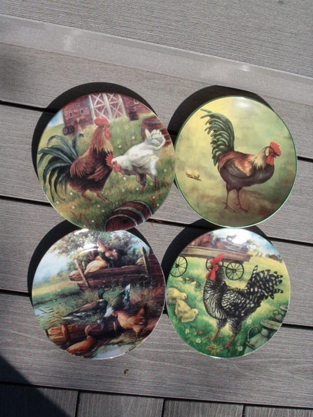 rooster on the farm , plates , four plates,