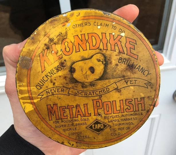 ANTIQUE 1910's CAPO KLONDIKE METAL POLISH TIN - HAMILTON, ONT.