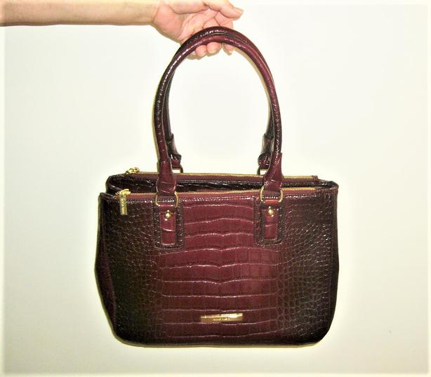 Anne Klein Faux Croco Leather Satchel / Shoulder Bag