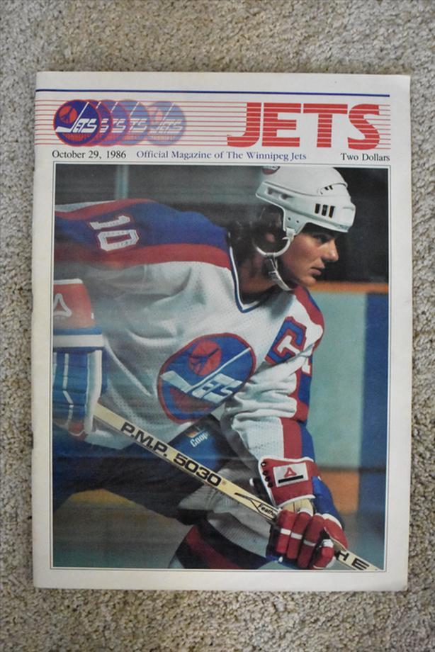 An original Winnipeg Jets game program from October 29, 1986. vs Calgary Flames