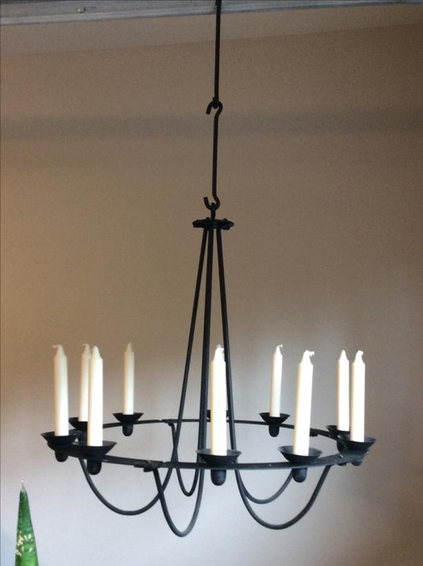 Candle Chandelier (black iron) and 60 Candles