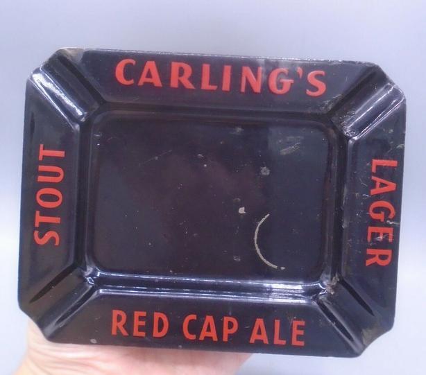 VINTAGE 1950's CARLING'S RED CAP ALE BEER PORCELAIN ASHTRAY