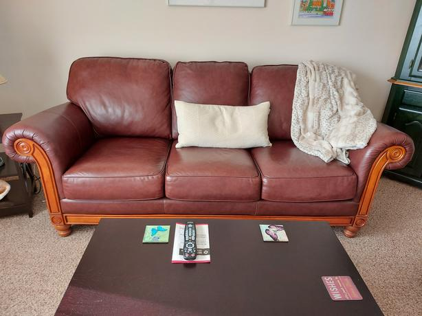 REDUCED Sklar Peppler Leather Couch and Chair - excellent quality