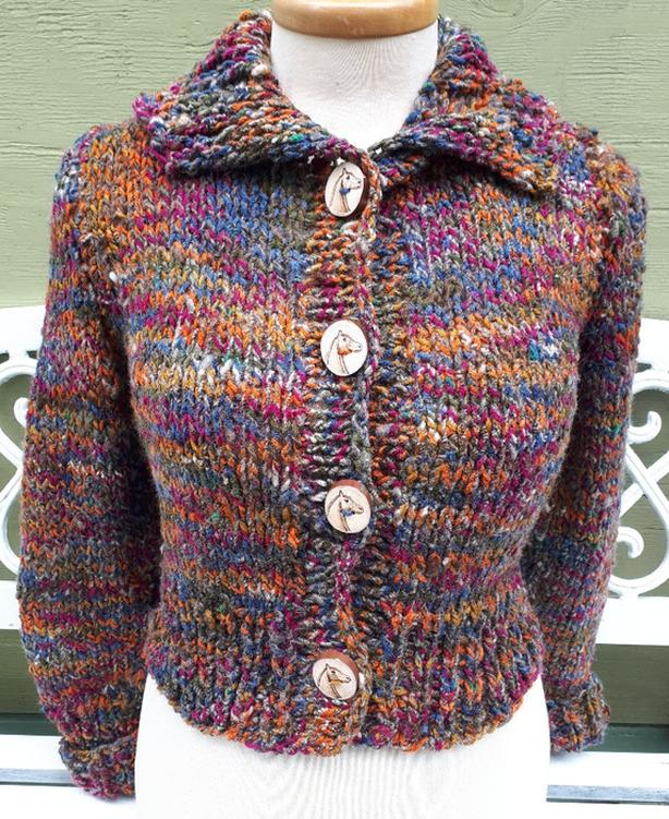 Equestrian bomber style outdoor sweater