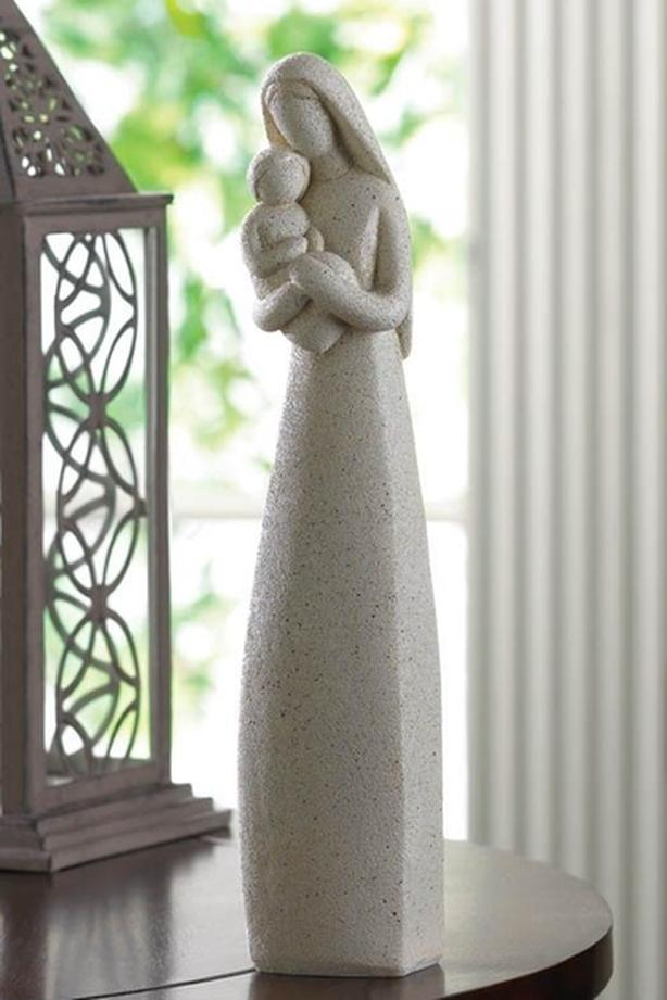 """Faux Stone Abstract Figurine Statuette Mother Holding Baby Child 10"""" Tall"""