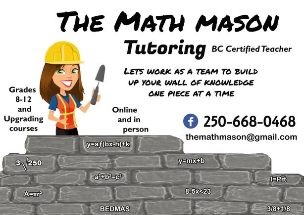 The Math Mason Tutoring BC certified teacher