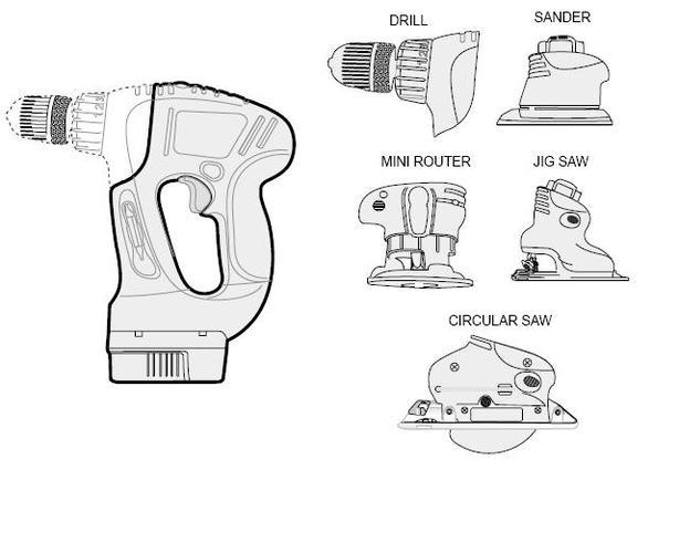 Various tool accessories for Black & Decker multi-tool