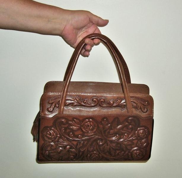 Tooled Leather Handbag / Purse / Tote