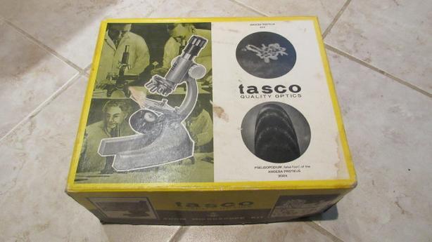Tasco microscope set wooden box