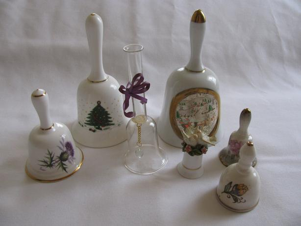 Vintage Collectible Bells 2 Christmas 1 Figural Most Signed Mixed Lot of 8