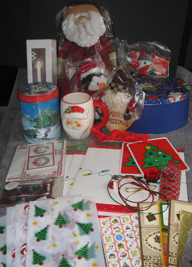 Christmas Cookie Tins Santa Electric Candle Poinsettia Set Tablecloth BOX FULL