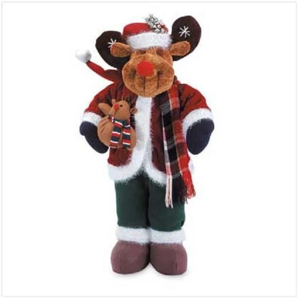 Standing Plush Christmas Moose Statue Figurine Ornament 2-Feet Tall NEW