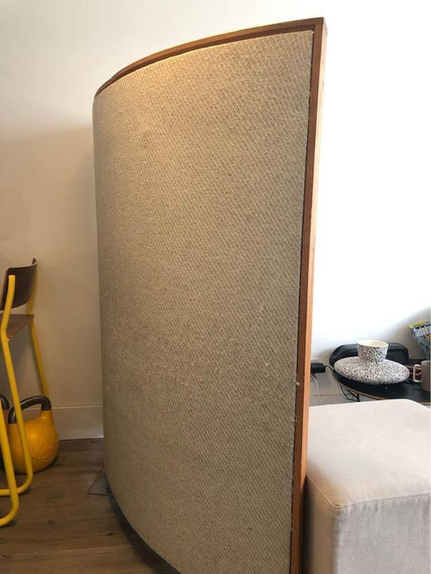 MCM Wood and Fabric Room Divider