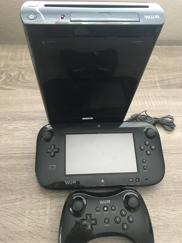 Wii U, gamepad, controller, and Zelda BOTW for sale.
