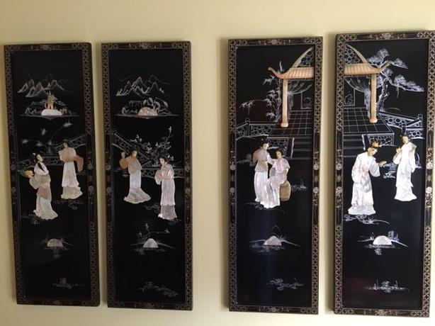 """Asian Lacquer Wood Panels with Mother of Pearl Geishas & Pagoda 36"""" x 12"""""""