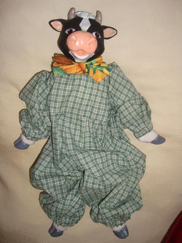 Vintage Porcelain Cow Doll w/ Plush Body & Outfit - $50