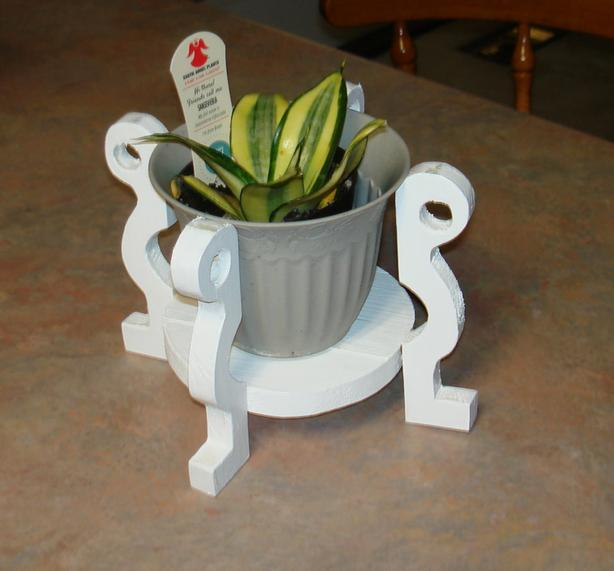 White Wooden Plant Stand for 5 inch pot; plant/pot not included