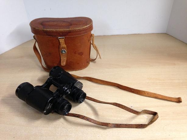 Binocculars Vintage Bird Watching With Leather Case  Excellent Condition