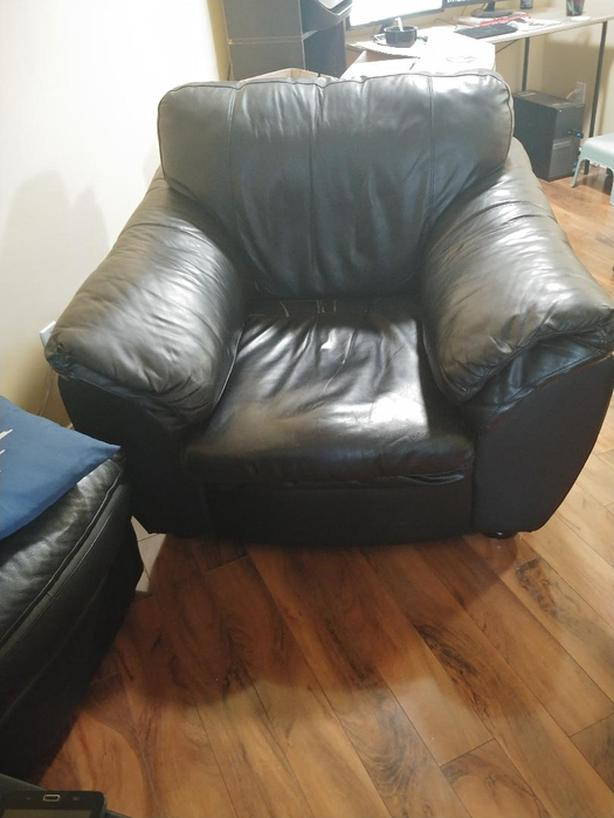 Real Leather Chair with Ottoman for sale