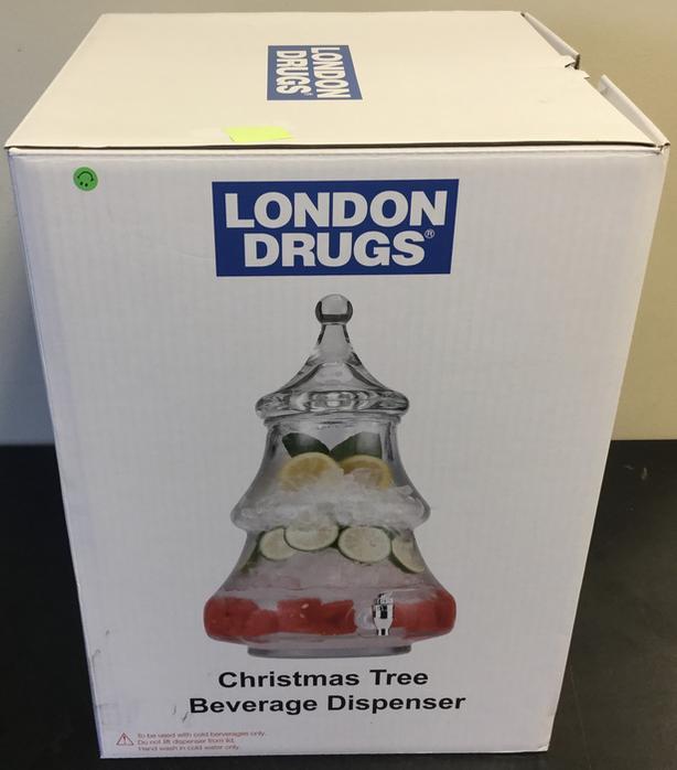 Glass Christmas Tree Beverage Dispenser