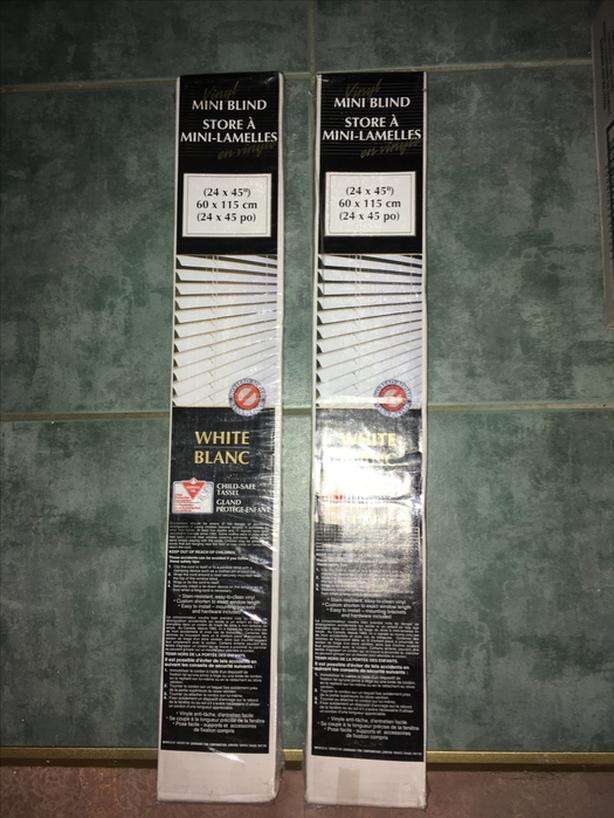 """New - (2) White Vinyl Horizontal blinds - 24"""" x 45"""" long"""